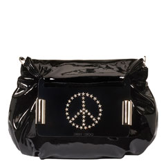 Char Patent clutch bag with Peace stars