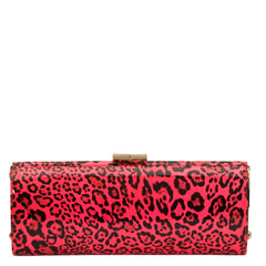 Tube Leopard printed patent clutch bag